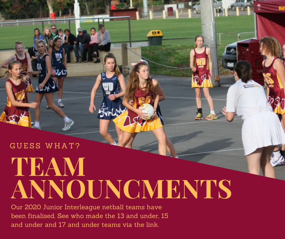 Junior Interleague Netball Teams Announced